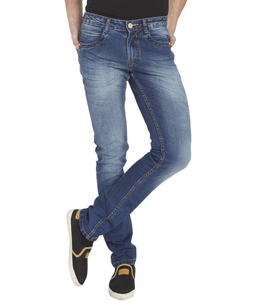 Globus Blue Cotton Blend Regular Fit Jeans