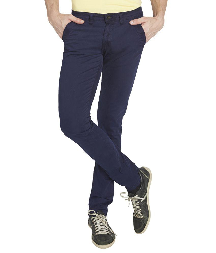 Globus Navy Blue Cotton Blend Regular Fit Jeans