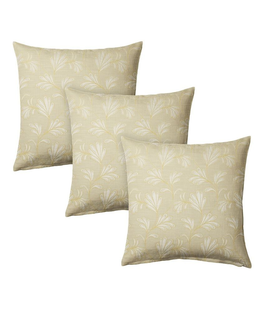 Suam Beige Polyester Cushion Cover - Set Of 3