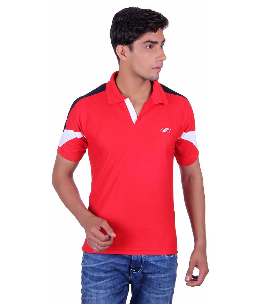 EX10 Red Polyester Sports Polo T-Shirt