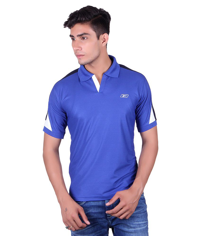 Ex10 Blue Polyester Polo T-Shirt