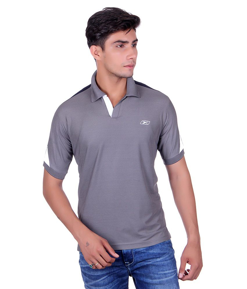 Ex10 Grey Polyester Polo T-Shirt