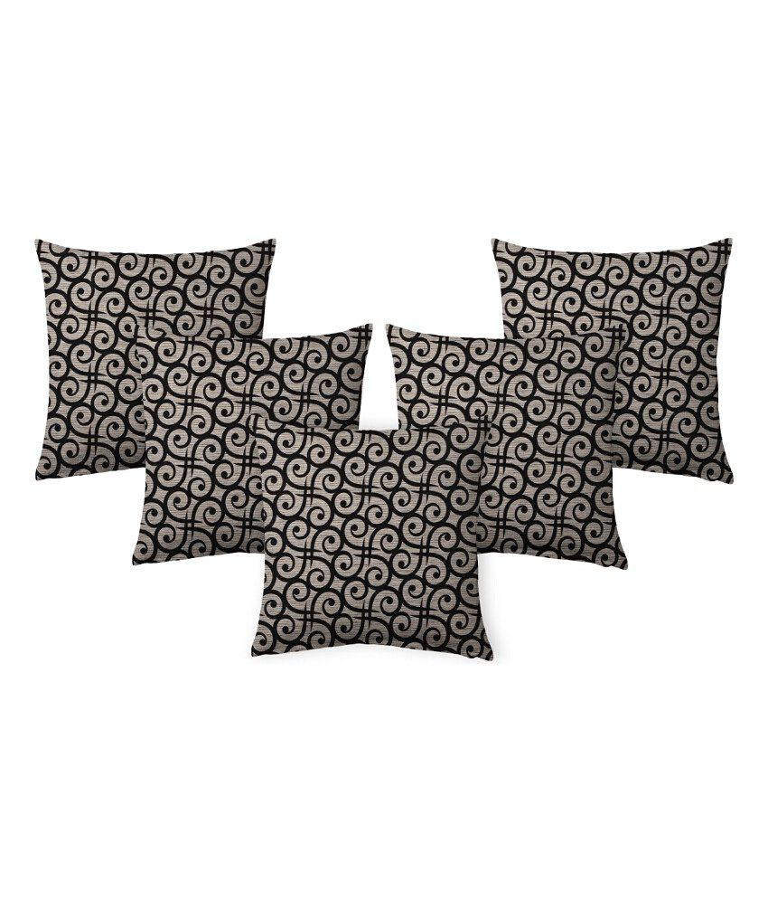 Suam Black Polyester Cushion Cover - Set Of 5