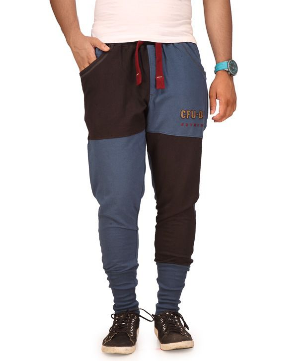 Cult Fusion Blue Cotton Trackpants