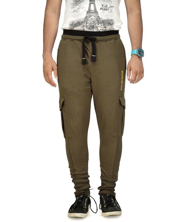 Cult Fusion Green Cotton Trackpants