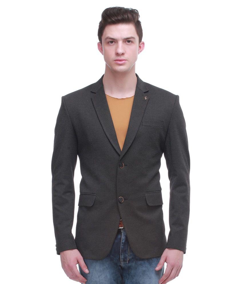 Jogur Black Full Sleeve Casual Blazer