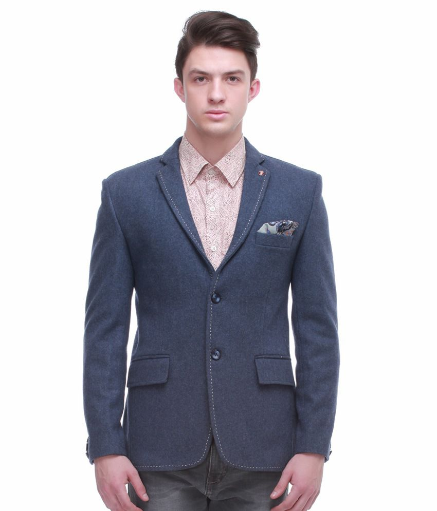 Jogur Blue Full Sleeve Casual Blazer