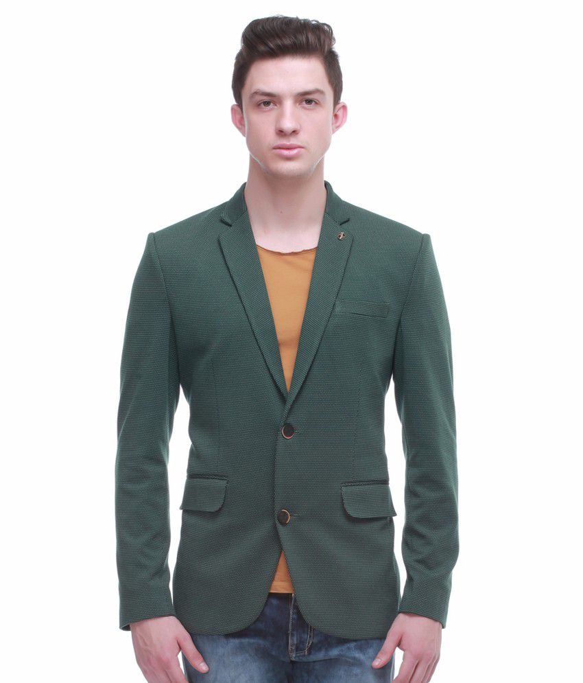 Jogur Green Full Sleeve Casual Blazer