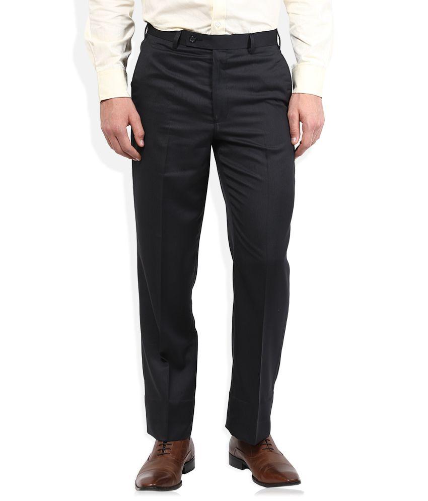 Park Avenue Black Solid Flat Front Trousers