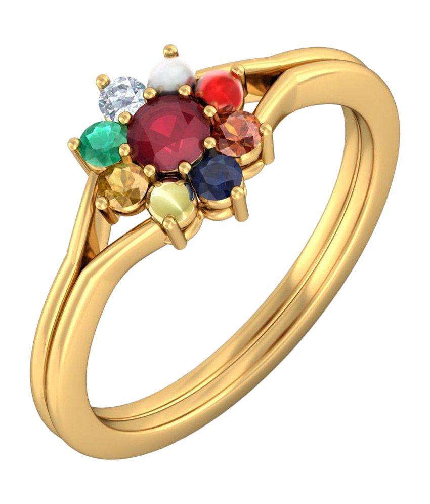 BlueStone 14kt Yellow Gold Pushpanjali Ring
