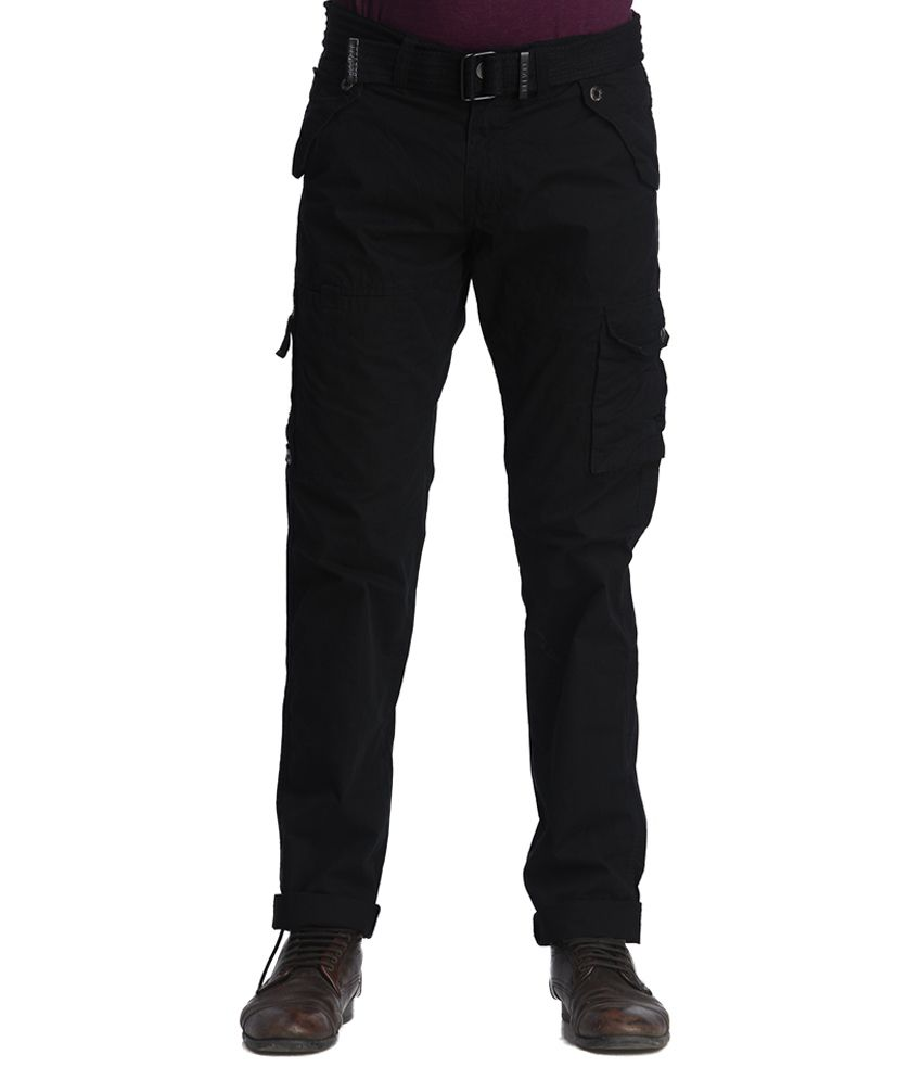 Beevee Black Regular Fit Casual Cargo Pant With Belt