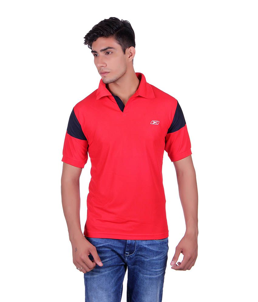 EX10 Red Polyester Sports T-shirt