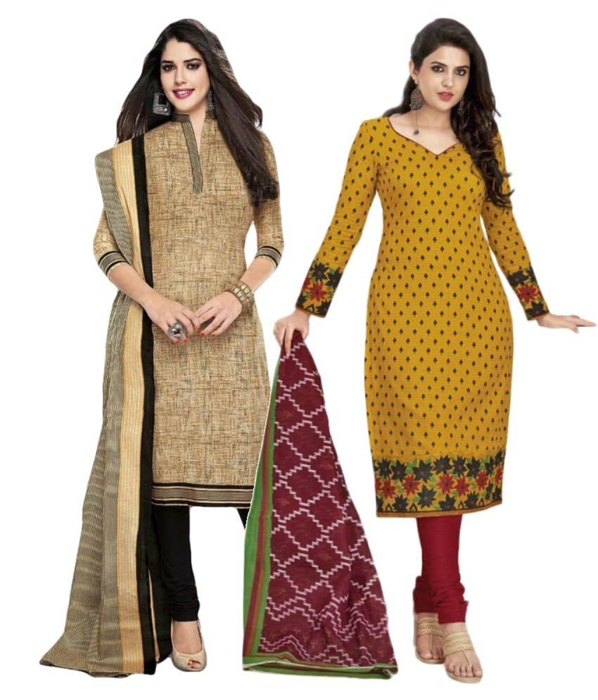 Kivi Trendz Black and Yellow Cotton Unstitched Dress Material (Pack of 2)