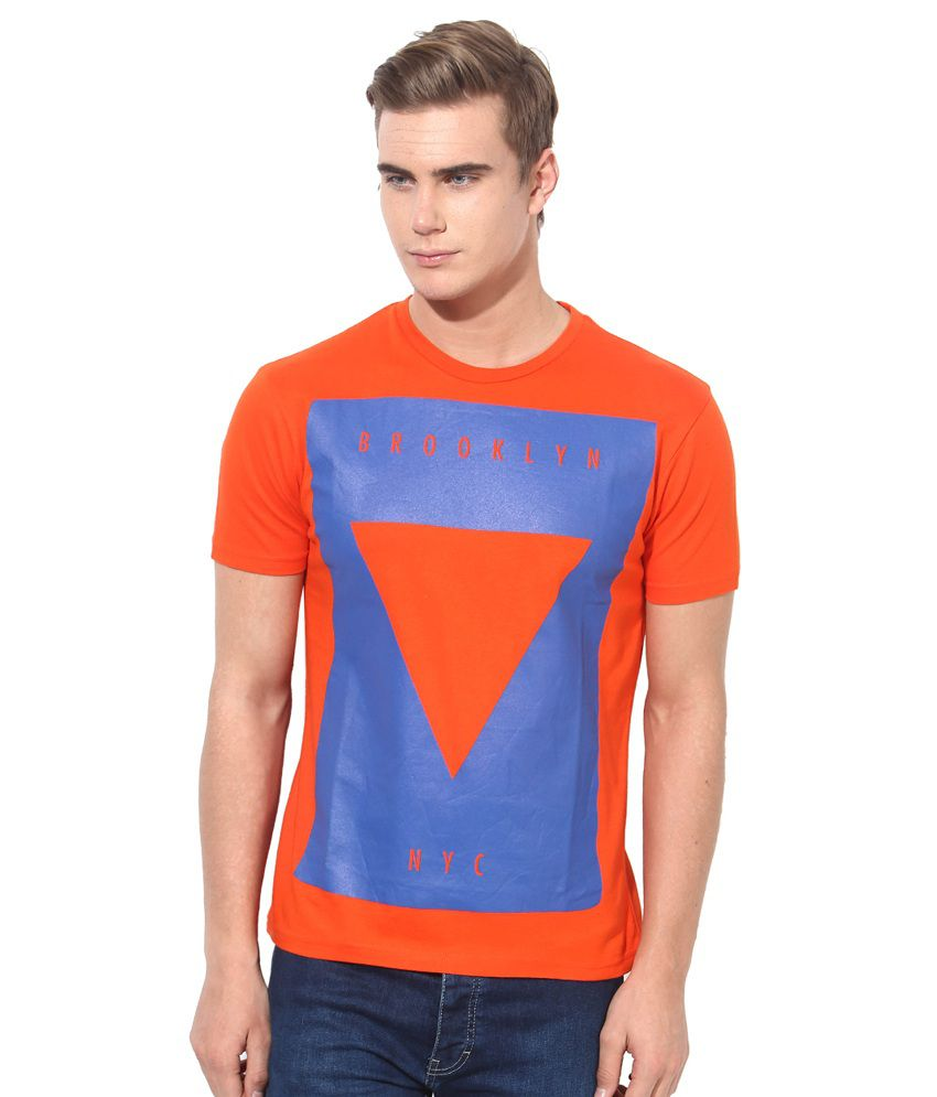 Monteil & Munero Orange & Blue Round Neck T-Shirt