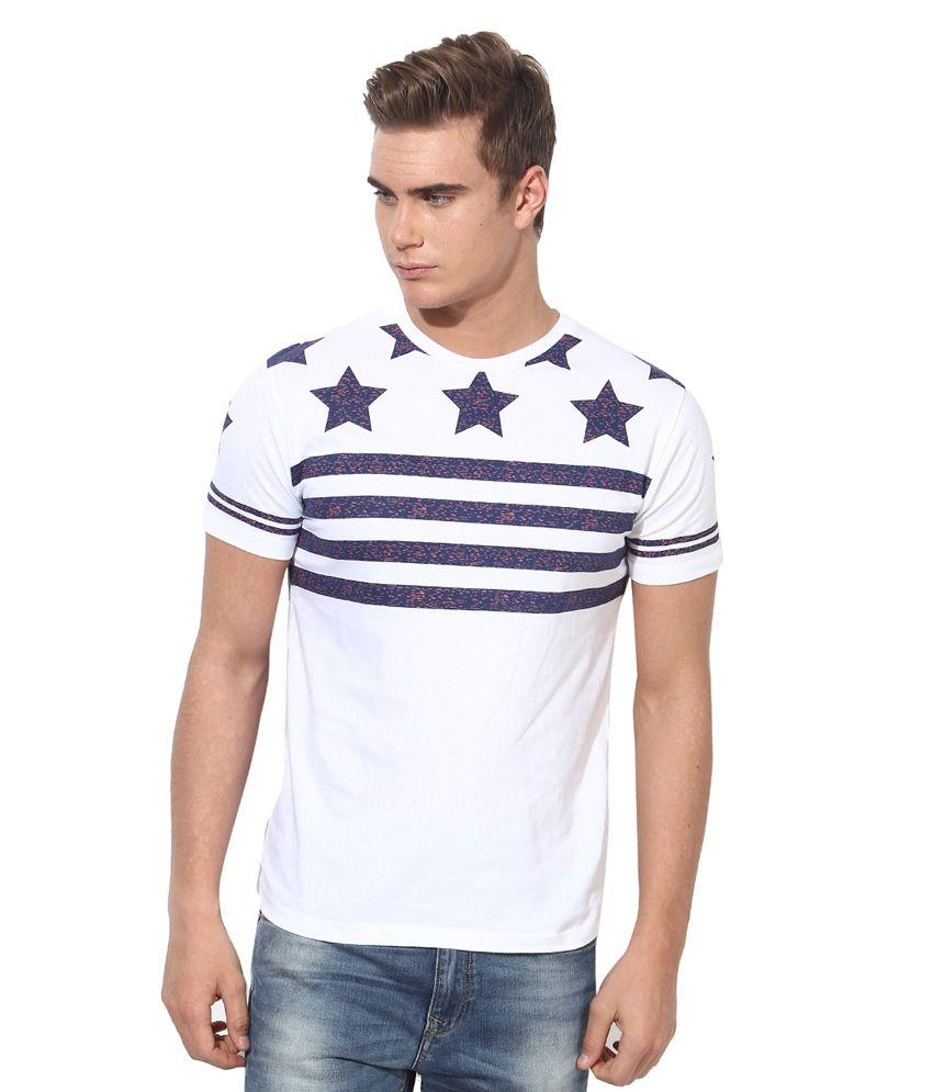 Monteil & Munero White & Blue Round Neck T-Shirt