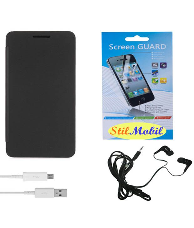 Stilmobil Flip Cover For Micromax Canvas Fire 4 A107 - Black With Screen Guard , Earphones And Data Cable