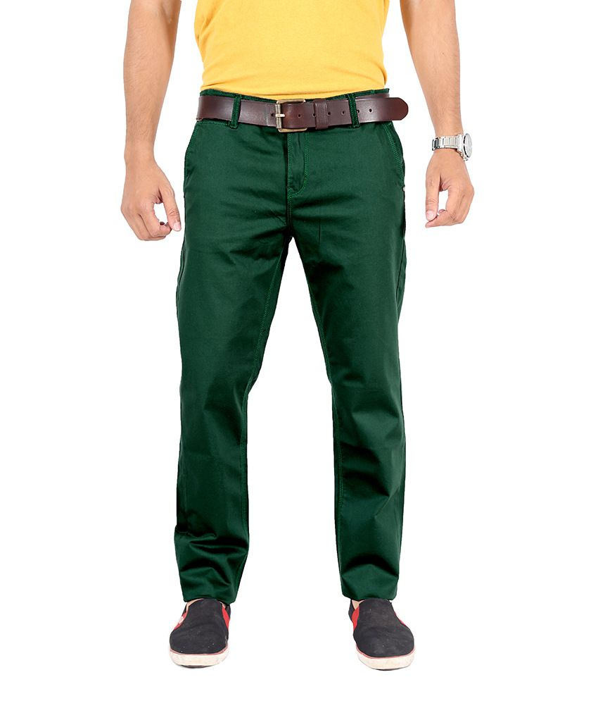 Uber Urban Green Slim Fit Casual Chinos Trouser