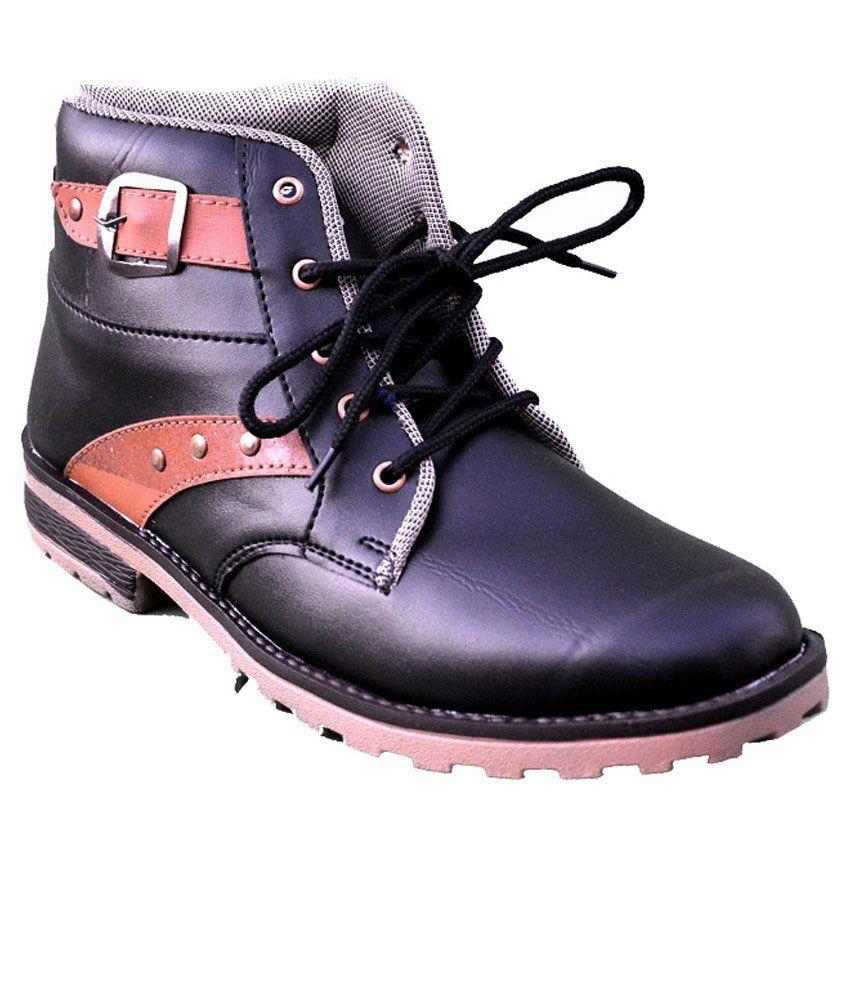 Bhavya Enterprises Black Lace Boots