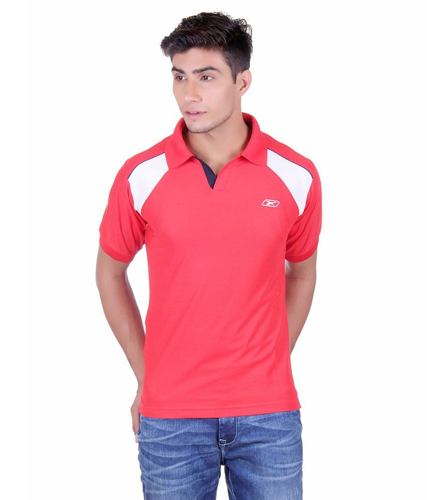 Ex10 Red Polyester Polo T-shirt