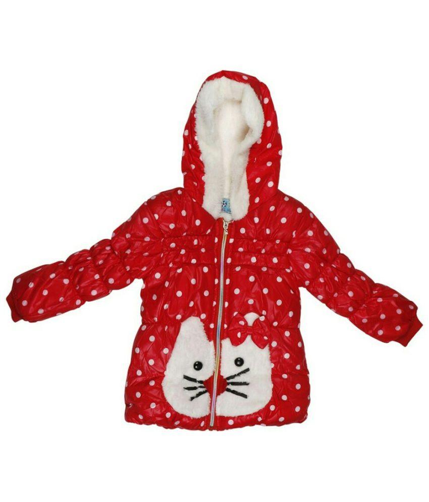Ishika Garments Red Faux Leather Hooded Jacket