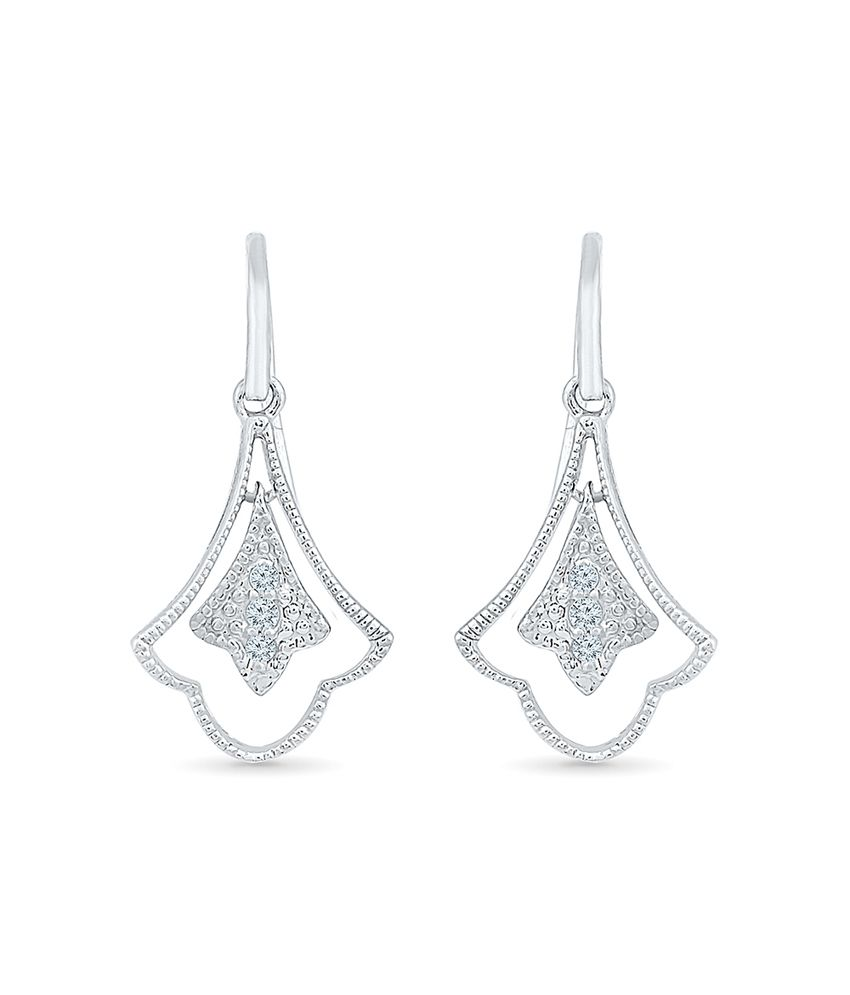 Radiant Bay 92.5 Silver Traditional Round Diamond Drop Earrings