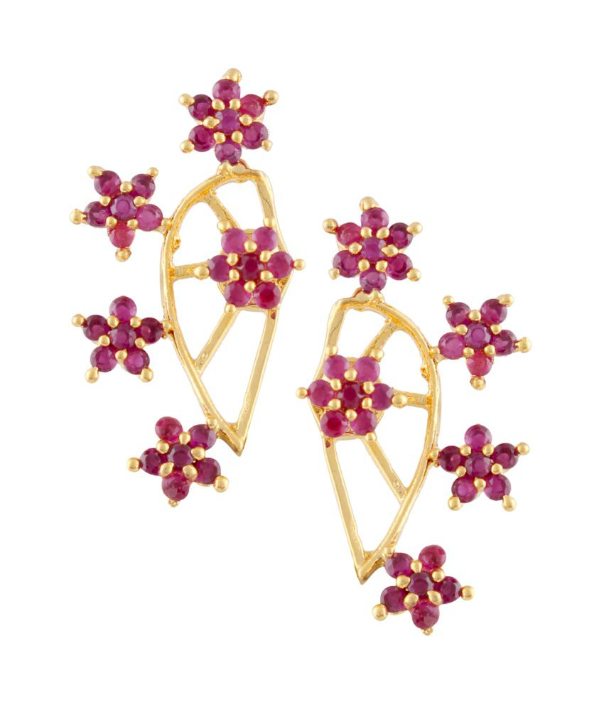 Archi Collection Pink And Golden Alloy Ear Cuffs