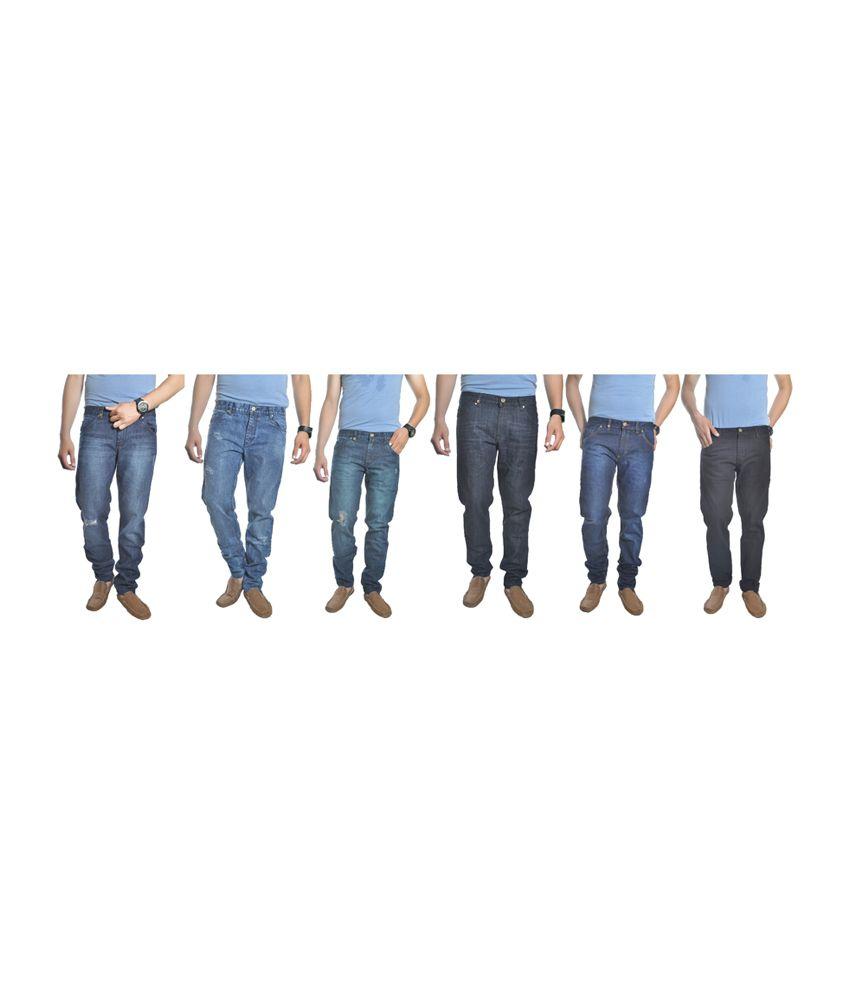 Reckler Blue Cotton Blend Denim Jeans (Combo of 6)