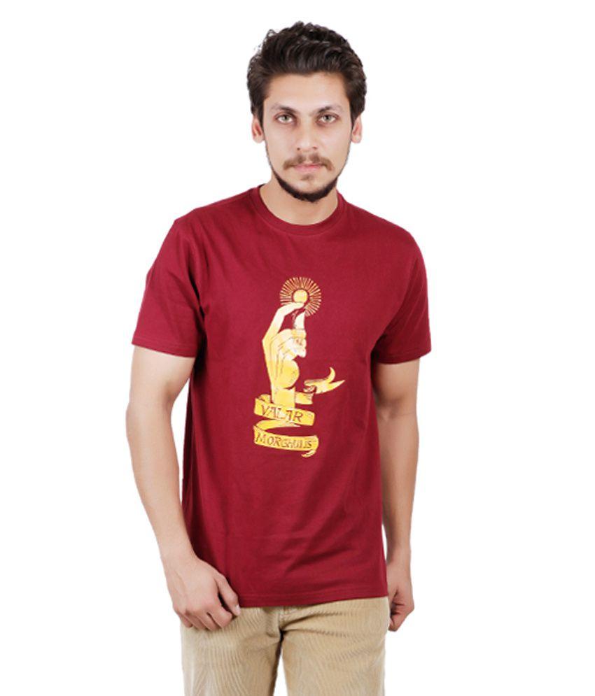 Pickle Moreon Maroon Half Sleeves Printed T-Shirt