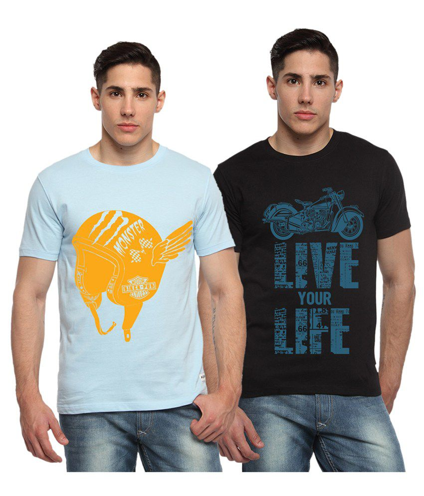 Adro Blue & Black Cotton Round Neck Printed T-Shirts (Pack of 2)