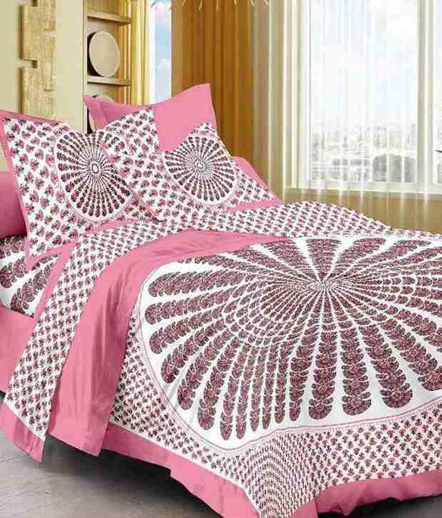 Frionkandy 100% Cotton Rajasthnai Jaipuri & Sanganeri King Size Double Bedsheet With 2 Pillow Cover
