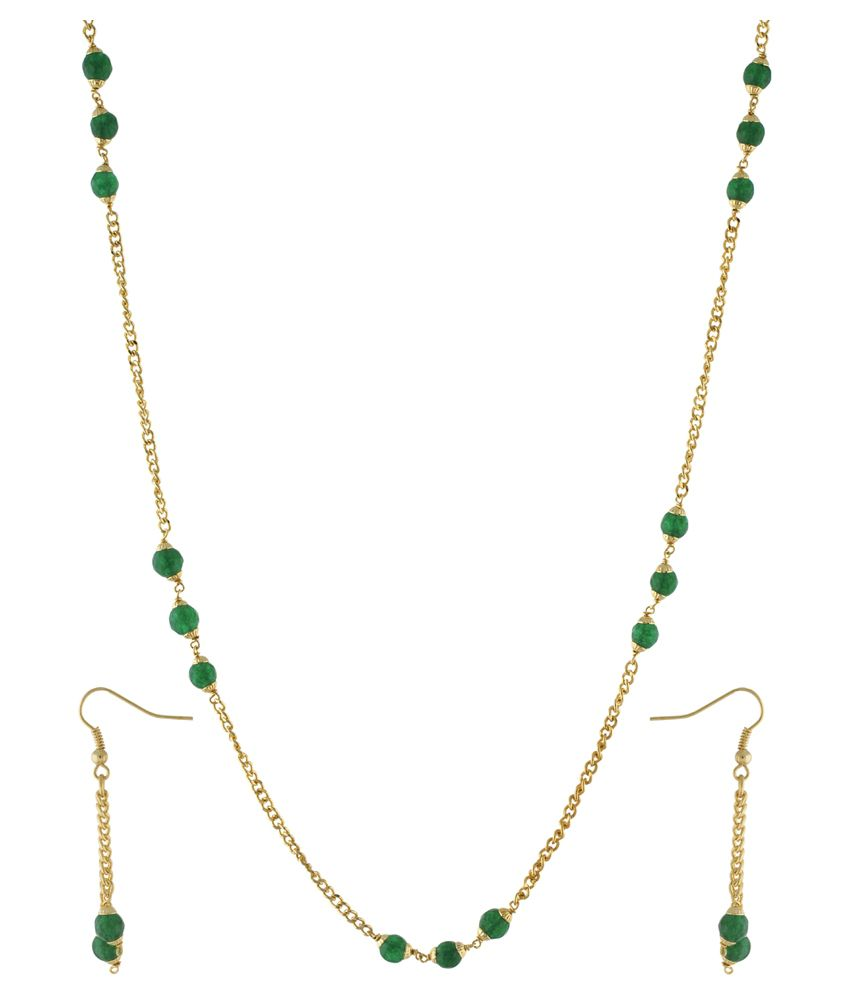 Jewel Planet Green & Golden Alloy Necklace Set