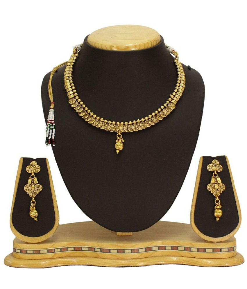 Satyam Jewellery Nx Golden Necklace Set