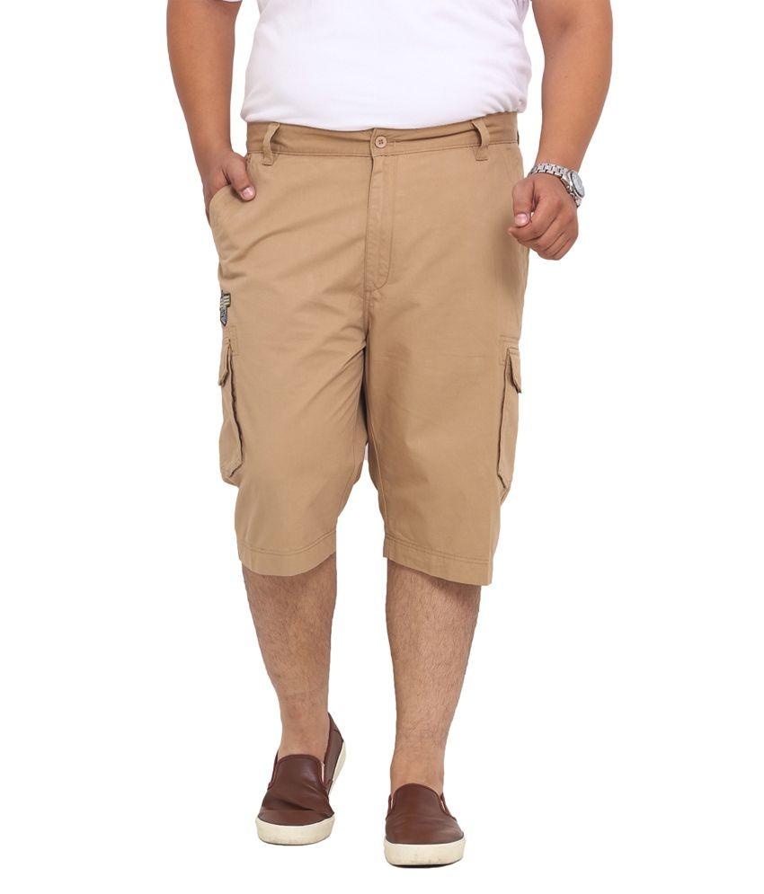 John Pride Beige Blended Cotton Shorts