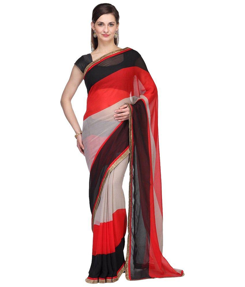 e93239f128746d Nilesh Fab Red & Black Printed Chiffon Saree with Blouse Piece - Buy Nilesh  Fab Red & Black Printed Chiffon Saree with Blouse Piece Online at Low Price  ...