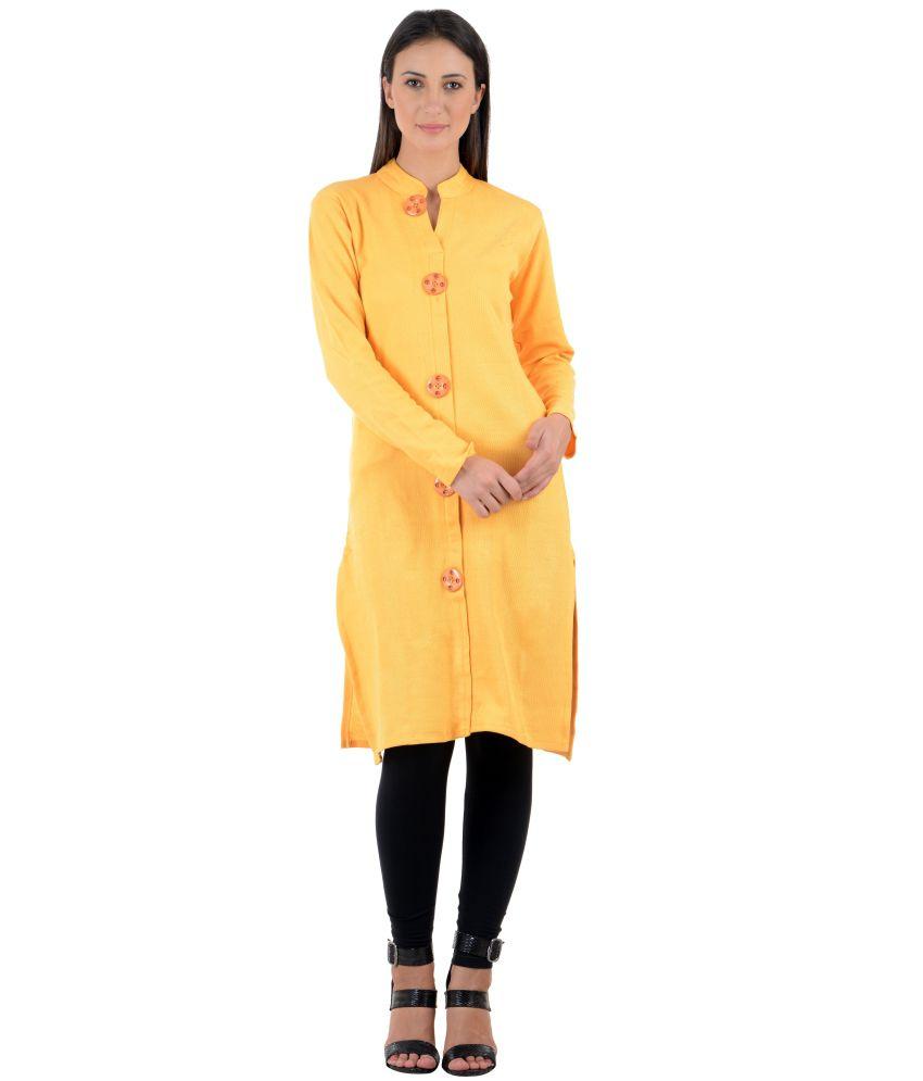 Numbrave Yellow Woolen Kurti