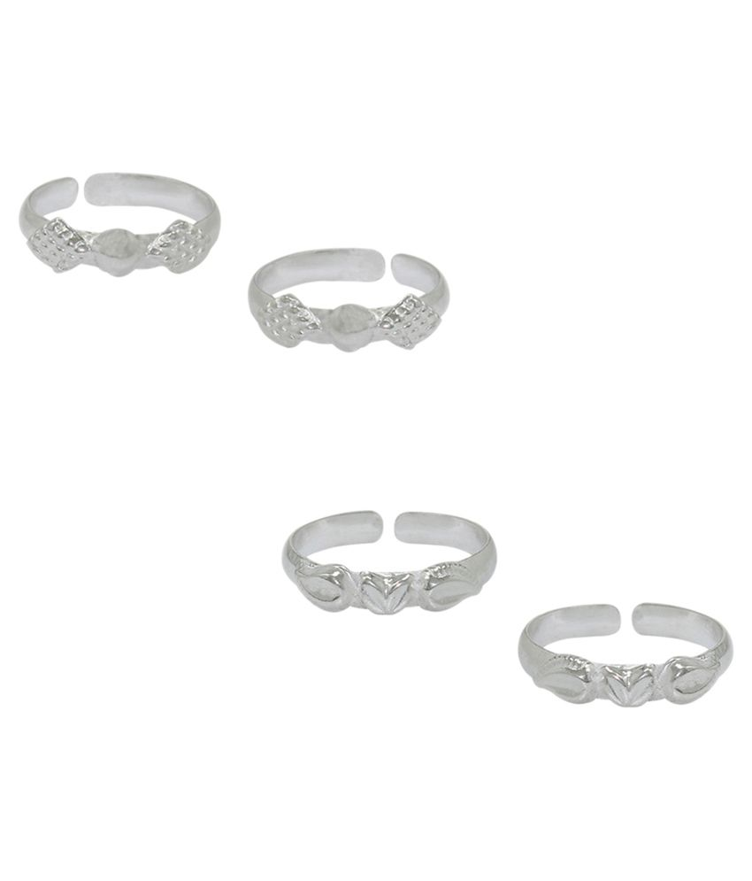 Frabjous Plain German Silver Toe Ring - Pack of 2
