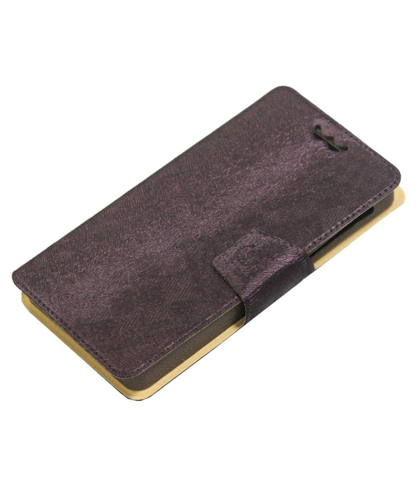 Jo Jo Flip Cover With Holder For IBall Andi 5h Quadro   Brown available at SnapDeal for Rs.590