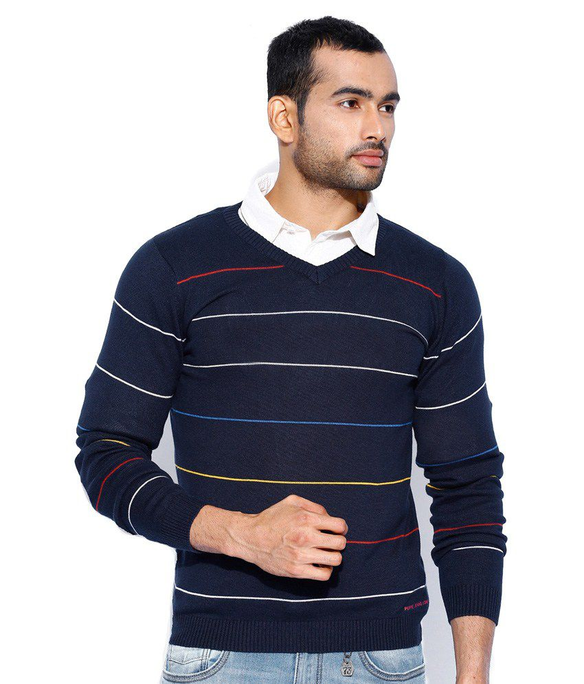 0b372c4b41 Pepe Jeans Navy Full Sleeves Cotton V-Neck Sweater - Buy Pepe Jeans Navy  Full Sleeves Cotton V-Neck Sweater Online at Best Prices in India on  Snapdeal