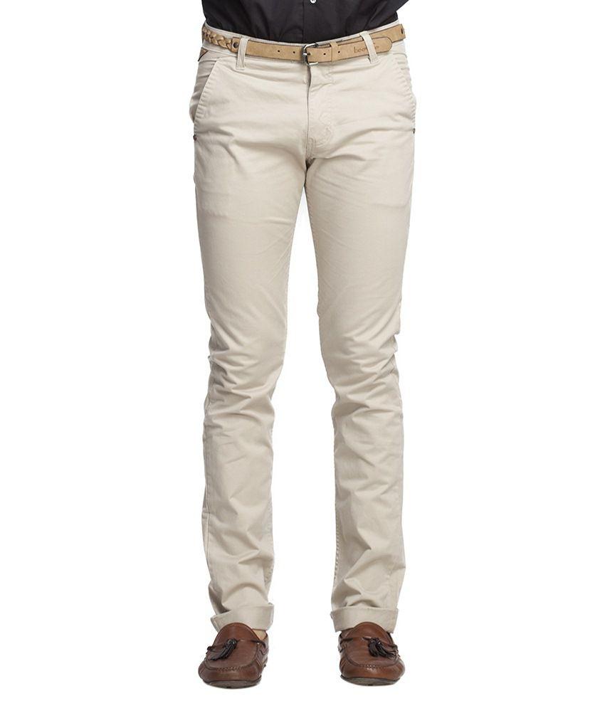 Beevee Beige Regular Fit Casual Trouser