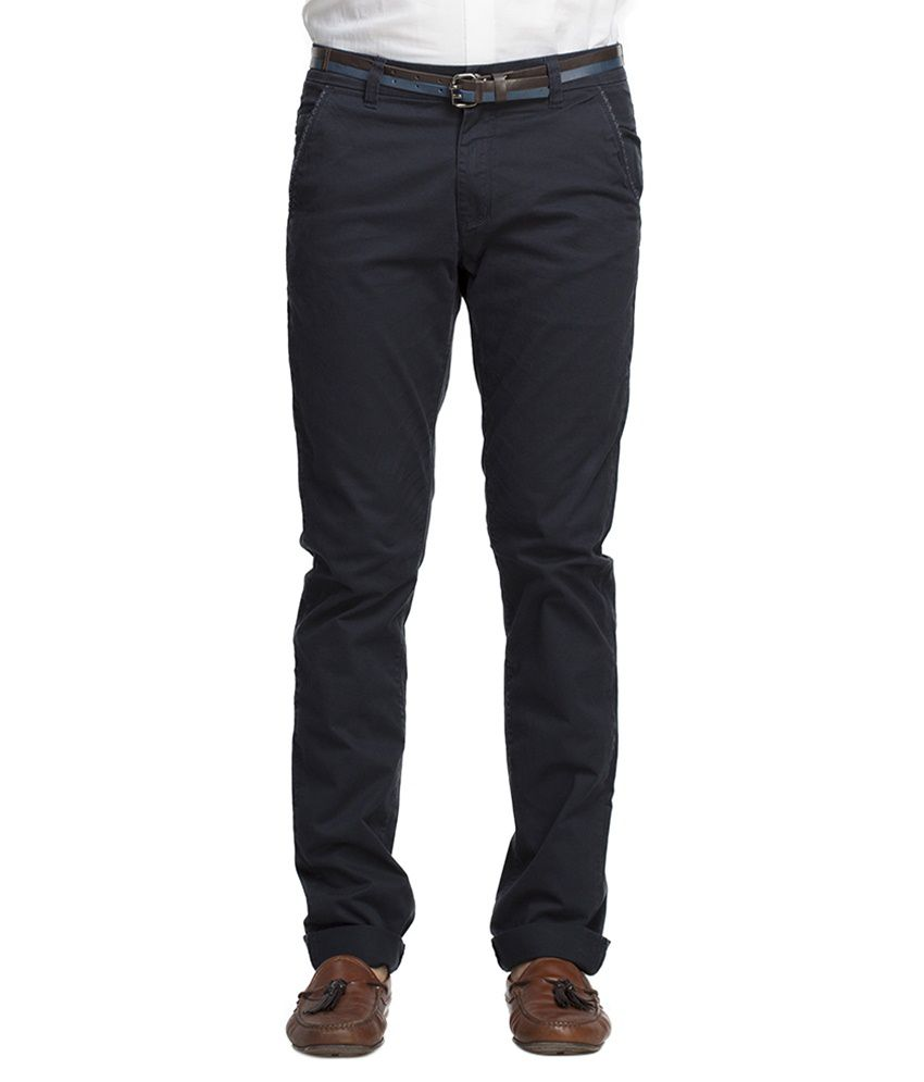 Beevee Navy Regular Fit Casual Trouser With Belt