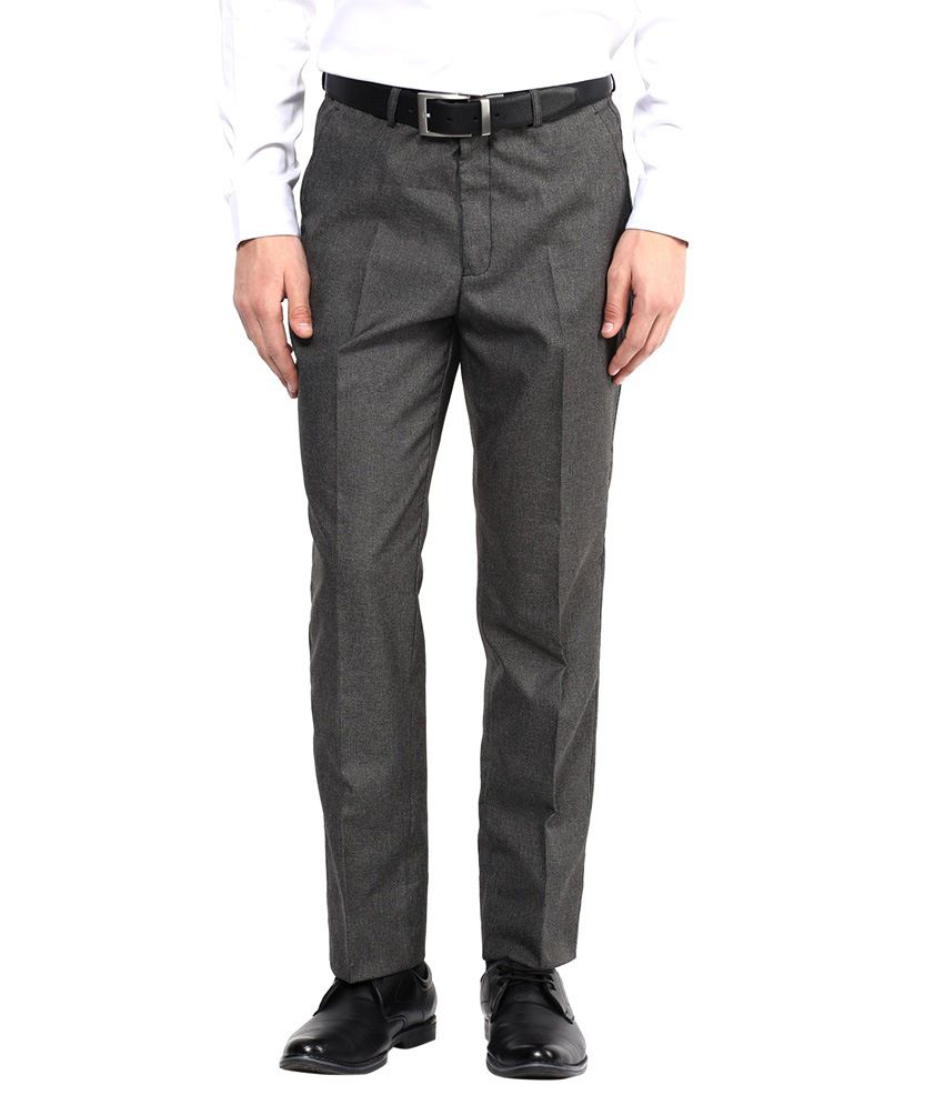 Bukkl Grey Poly Blend Slim Fit Formal Trouser
