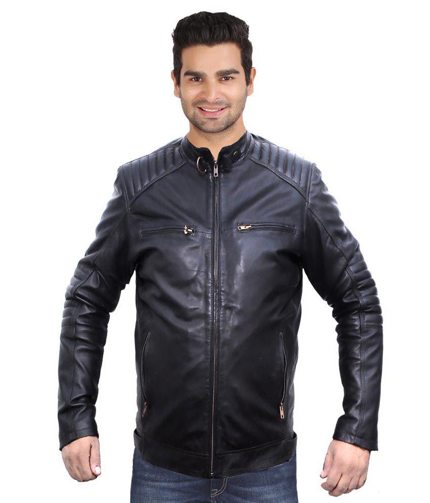 Leather jacket india - Kirli Black Full Sleeve Leather Casual Jacket