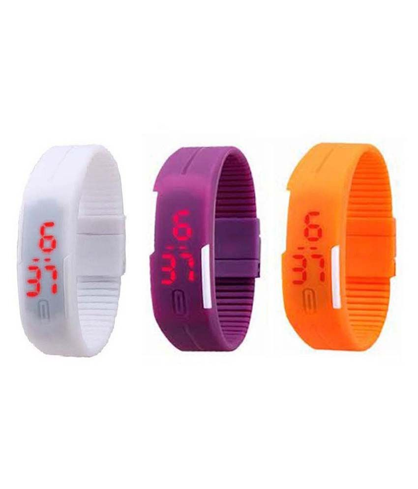 Lime White LED Band Watch Pack Of 3