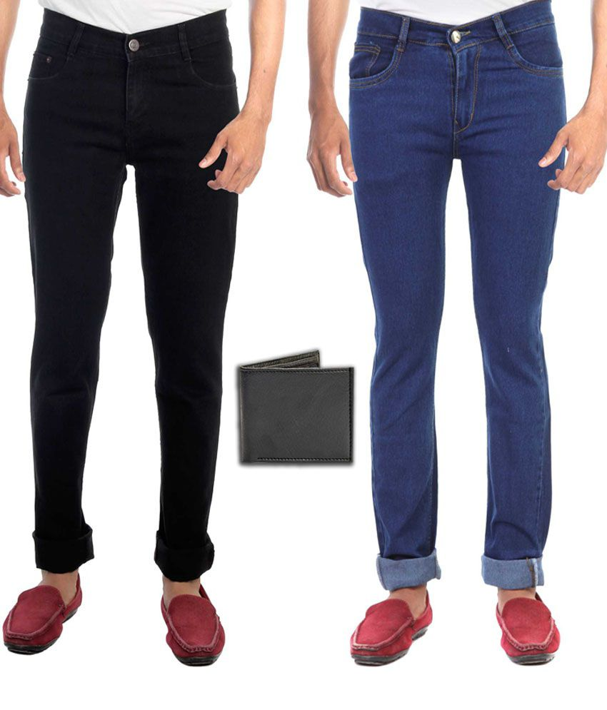 Faithful Black and Blue Regular Fit Jeans - Pack of 2