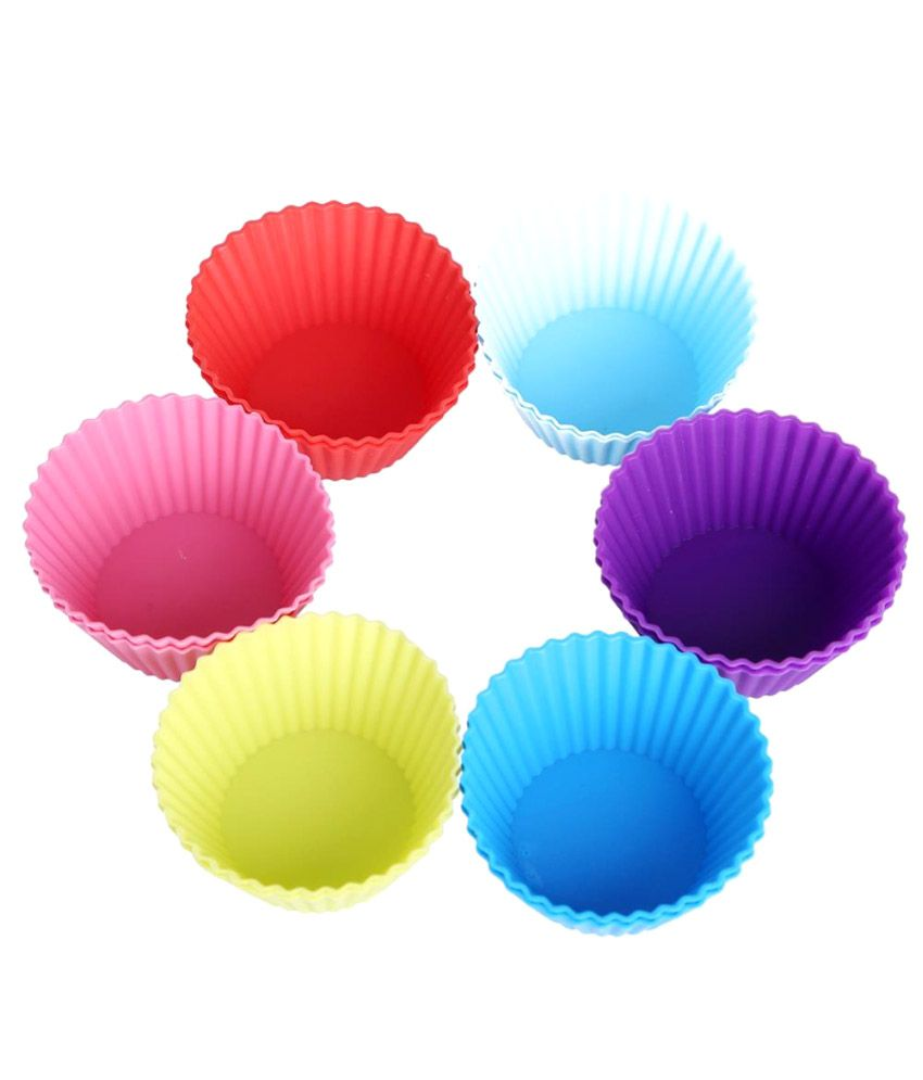 Hua You Multicolour Silicone 150 ml Muffin Moulds (Set Of 6)