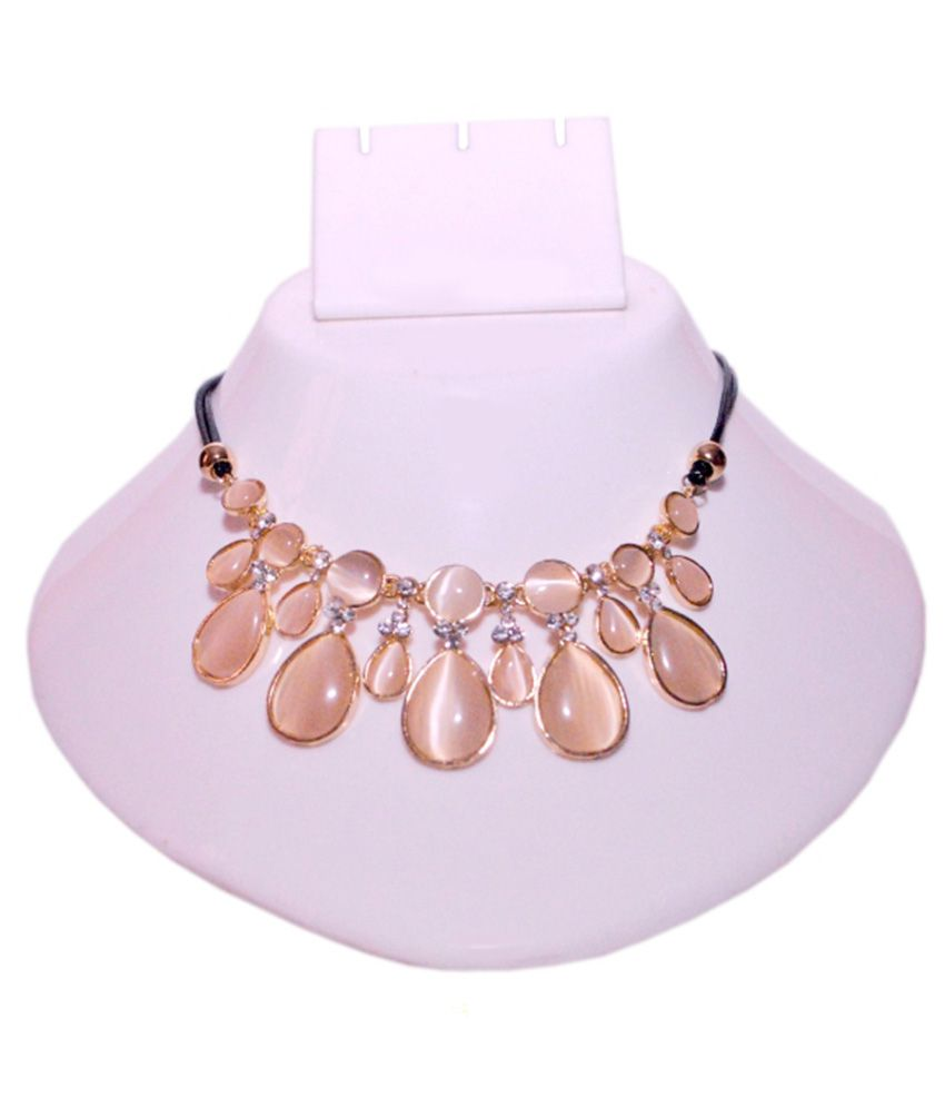 Hunar India Contemporary Brown Crystal Alloy Necklace Set