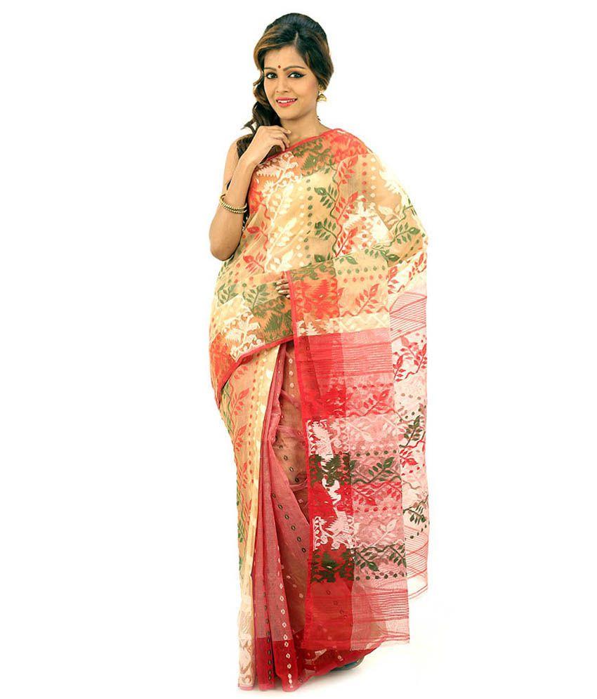 Bengal Handloom Saree Red Cotton Silk Saree