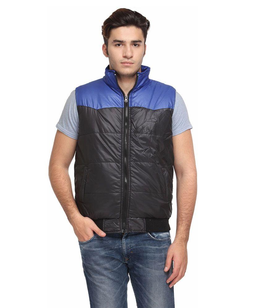TSX Black & Blue Sleeveless Nylon Jackets