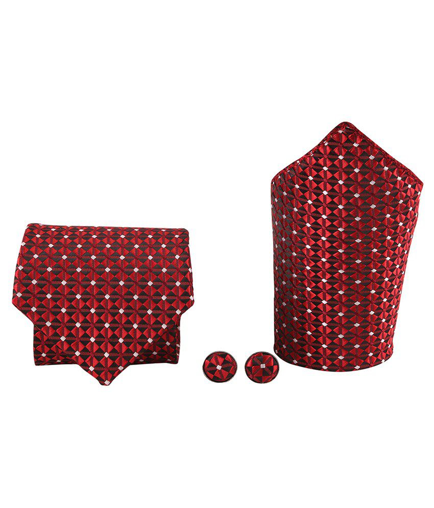Tie & Cuffs Red Geometrical Design Neck Tie