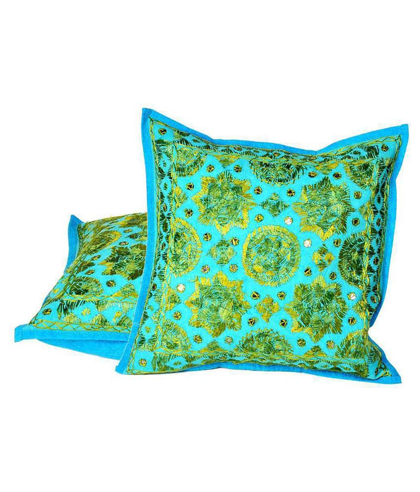 Indiangiftemporium Blue Cotton Embroidery Cushion Cover